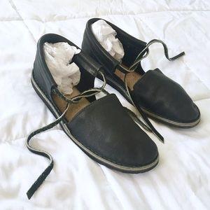 Shoes - Genuine Leather Handmade Navy Blue Ballet Flat